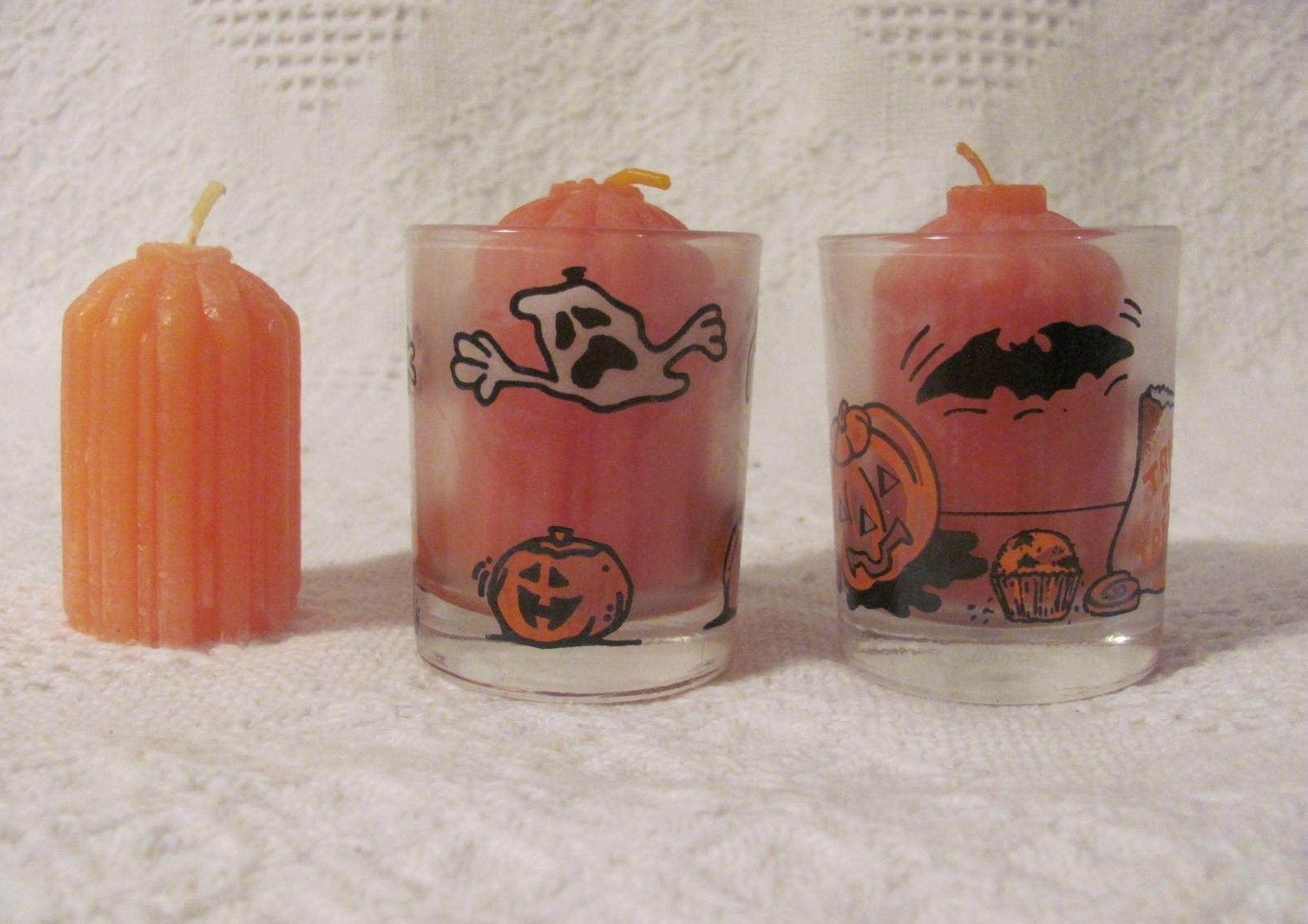 "Halloween Votive Candle Holders Ghosts Pumpkins Bats 2 1 2"" Tall 3 Candles 2 