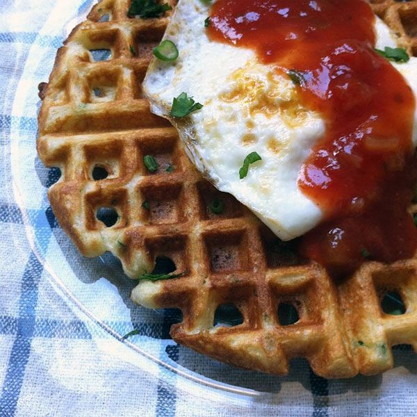 savory cornmeal & chive waffles with salsa and an egg
