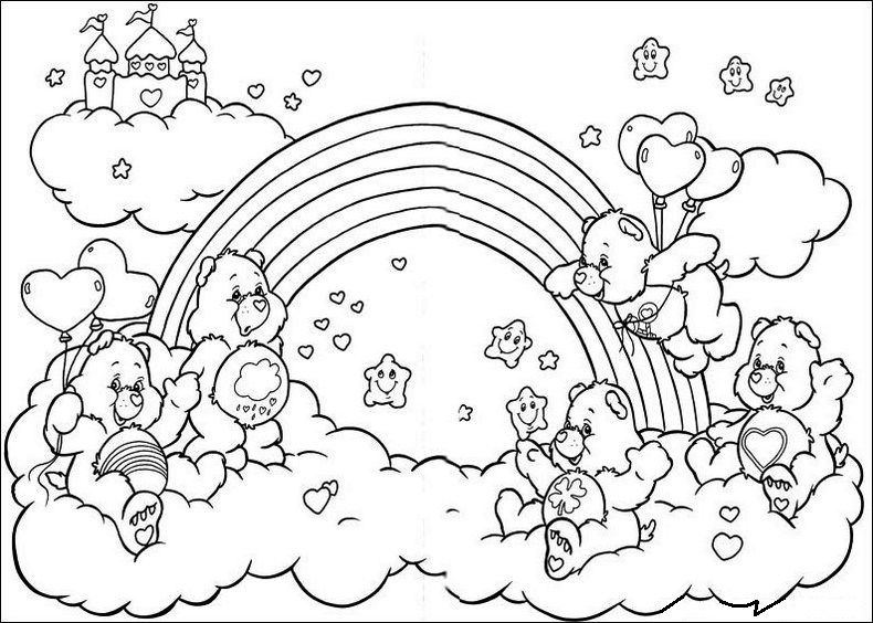 Care Bears Characters On Rainbow Coloring Pages Bear Coloring Pages Cartoon Coloring Pages Unicorn Coloring Pages