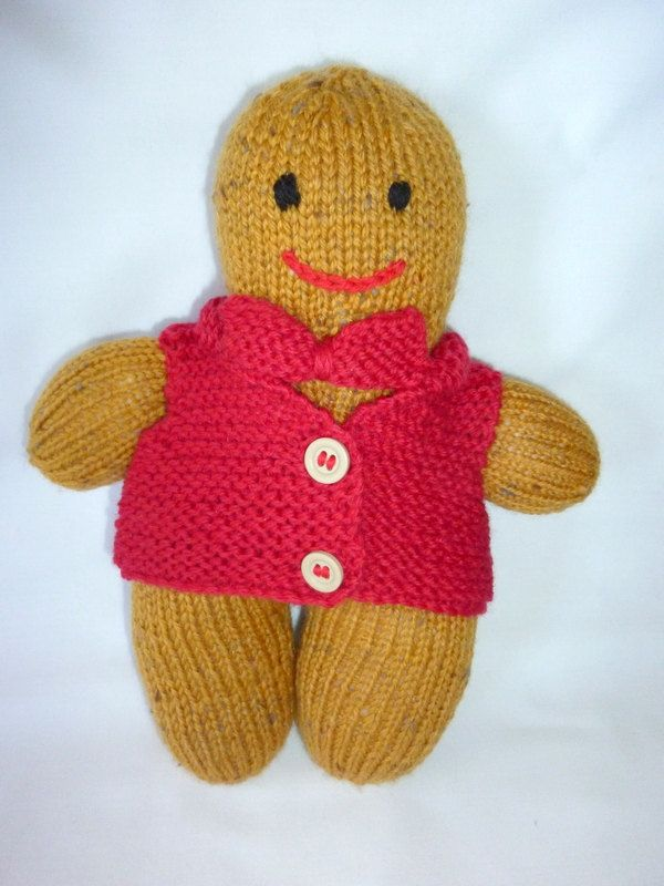 Gingerbread Softie Knitted Gingerbread Man Knitted Gingerbread Toy