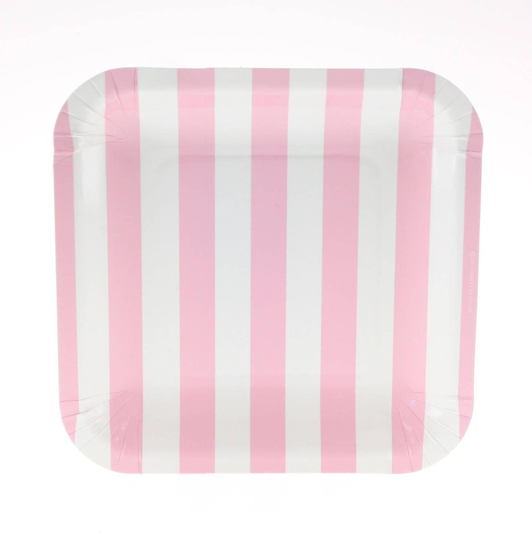 Plates | Pink Candy Stripe Party Plates 7.25  | Pink Stripe Plates | Square Paper  sc 1 st  Pinterest & Plates | Pink Candy Stripe Party Plates 7.25