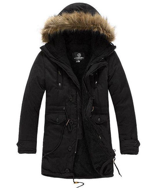 Men's Black Parka Hooded Coat