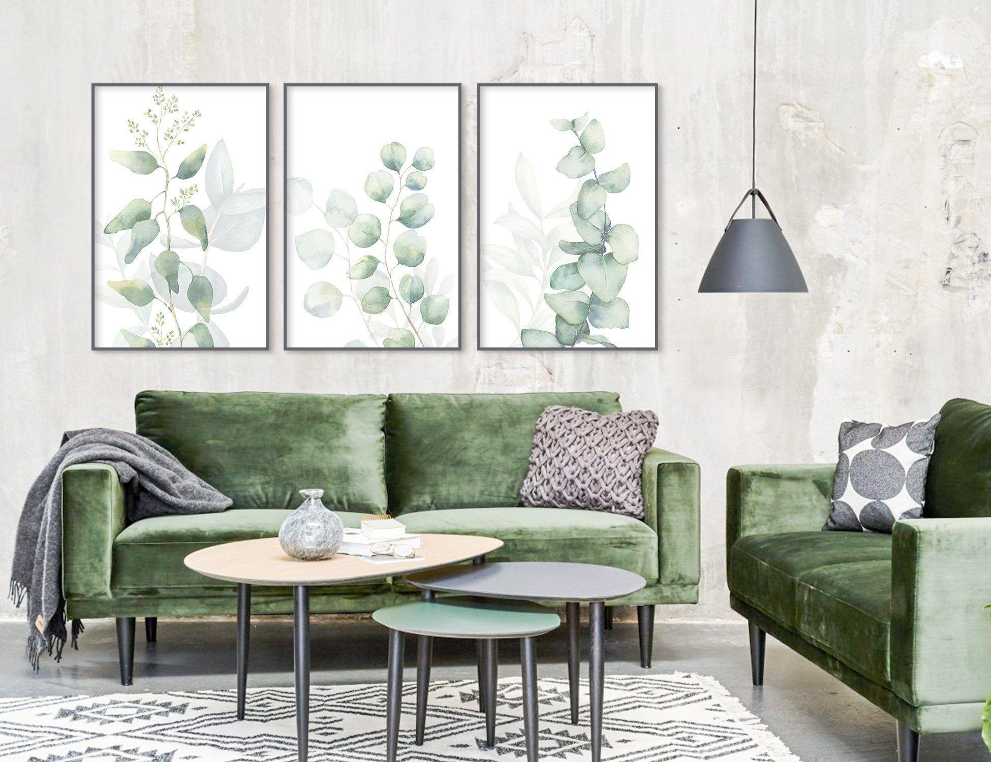 Eucalyptus watercolor wall art prints large green