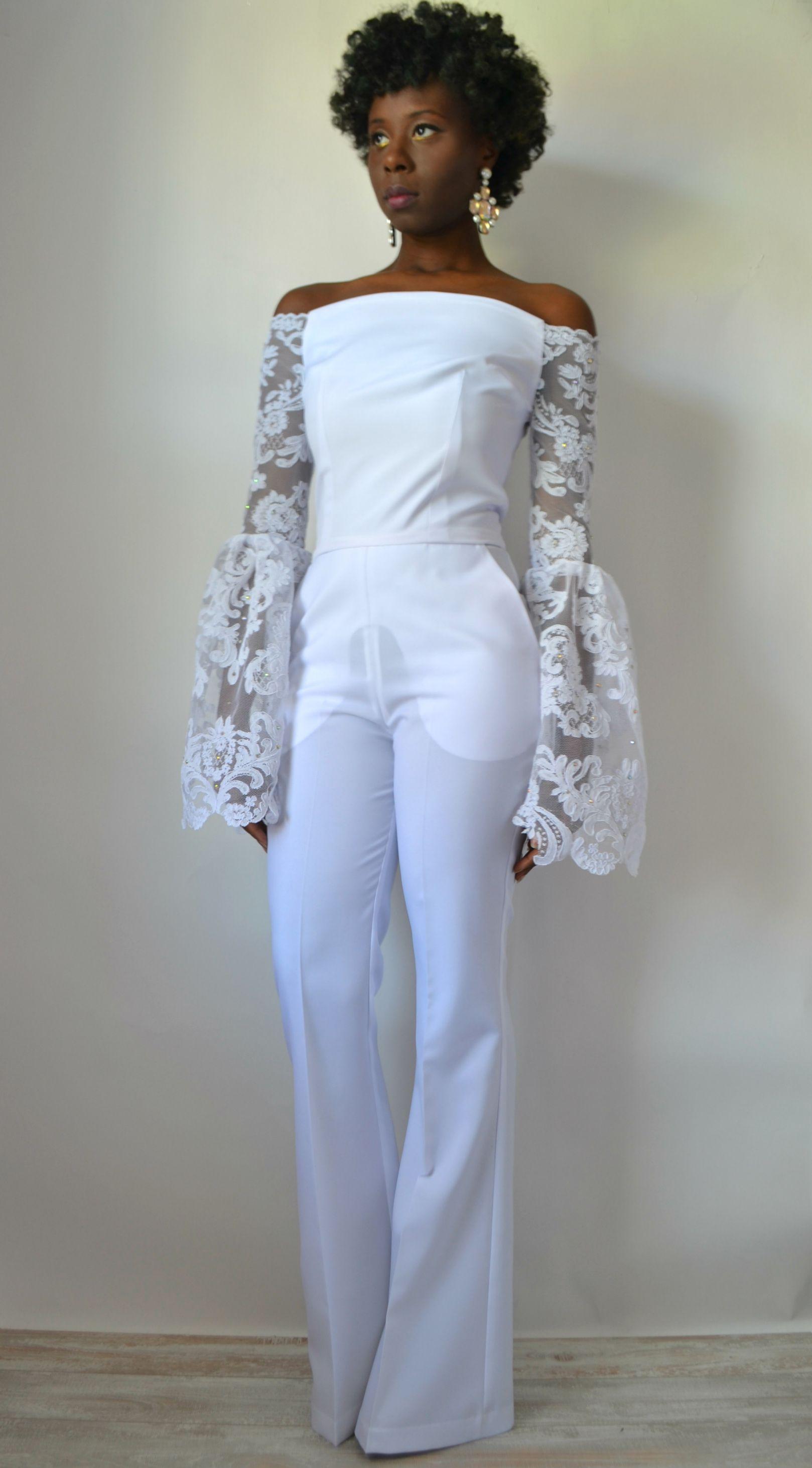 Daniela tabois off the shoulder lace bridal jumpsuit1
