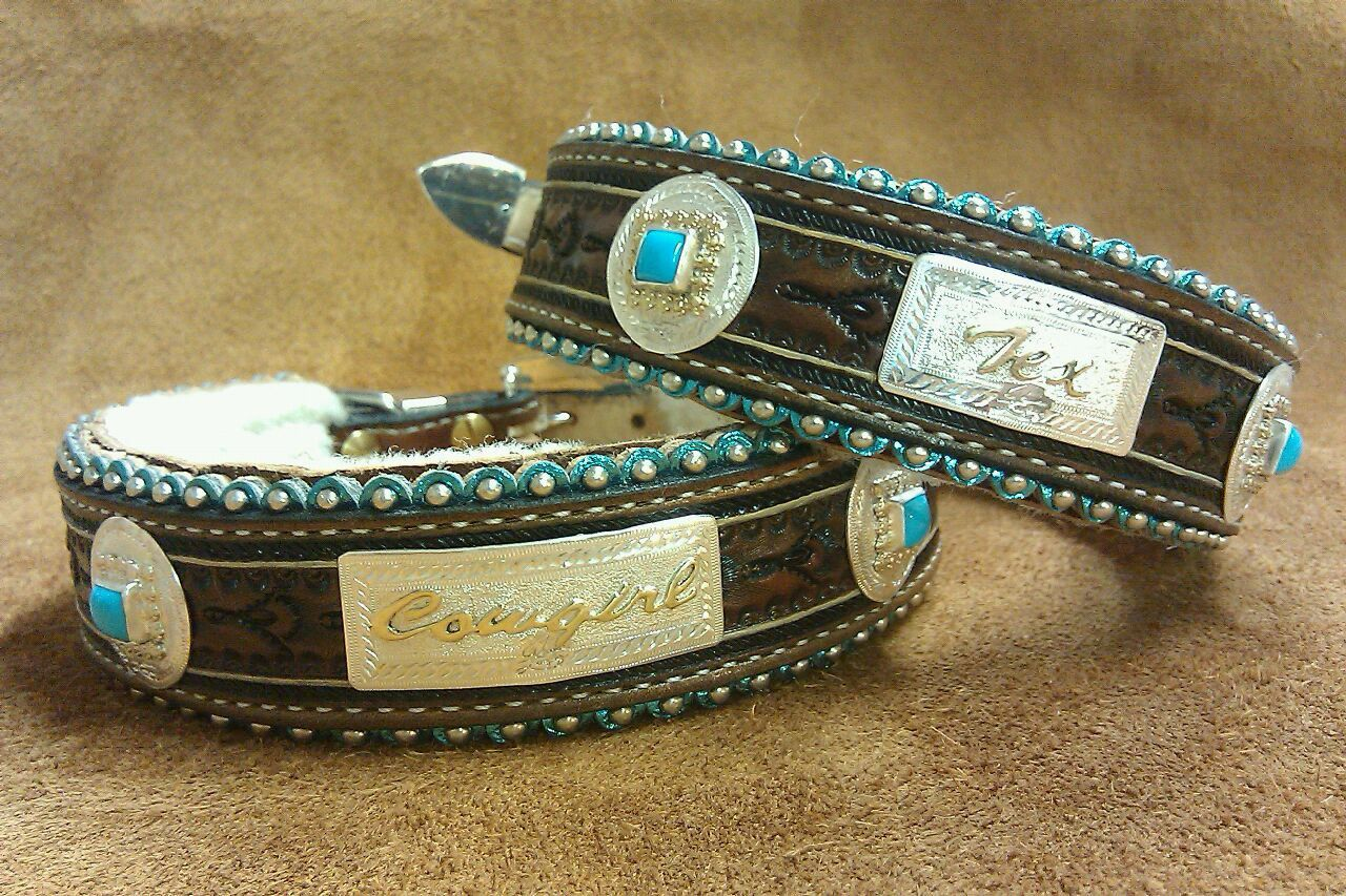 A Bit of Bling Cross Brown Leather Dog Collar