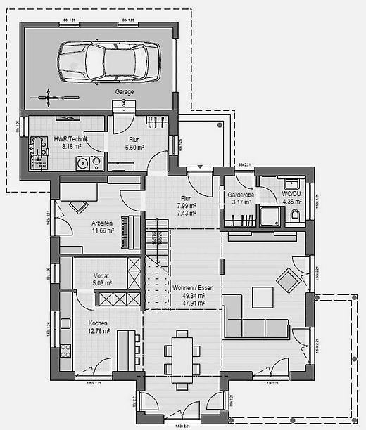 Grundriss Erdgeschoss Haas MH Poing 187