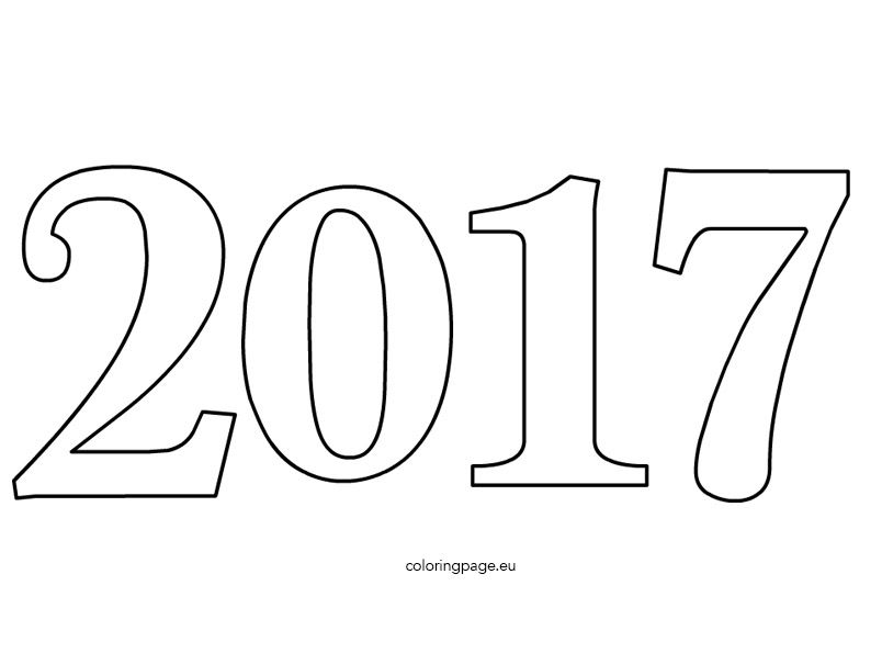 Happy New Year Coloring Pages 2017 Celebration Number Page For Kids