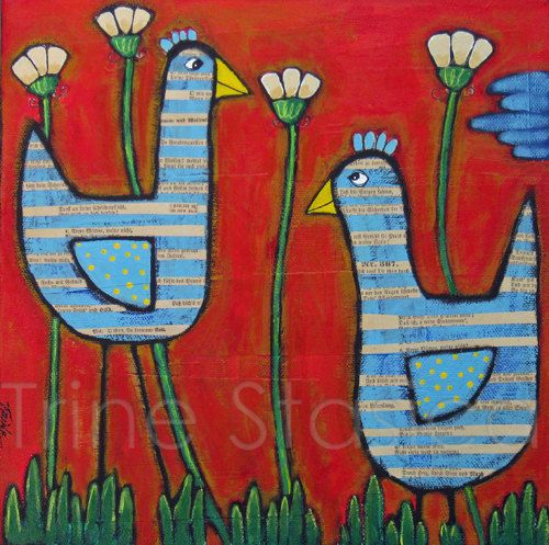 Original painting  Being Friends   by Trine by ManicAttackArt, $50.00