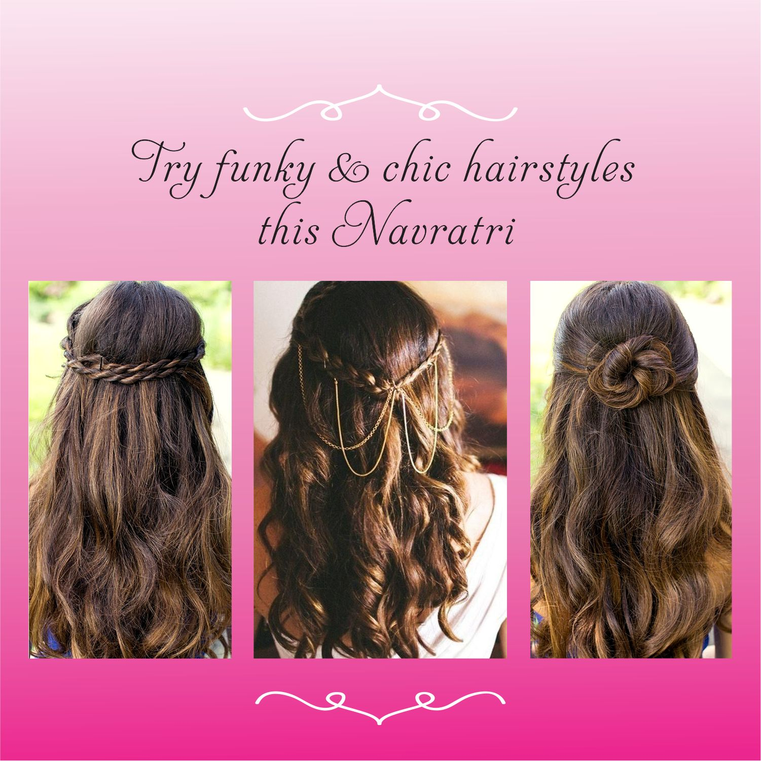 Try funky & chic hairstyles this Navratri #VipulFashions #Navratri #FunkyHairStyle