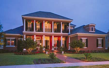 Plan 83382CL: Southern Colonial with Two-Story Balcony | If ... on colonial houses with dormers, colonial houses with shutters, colonial house with 3 car garage, colonial house with painted brick,