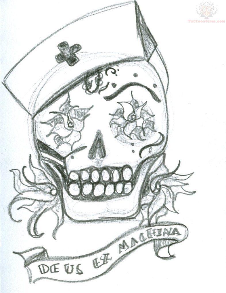 Tattoos tattoo ideas on pinterest rn - Cool Zombie Skull Tattoo Drawings Zombie Nurse Skull Tattoo Design
