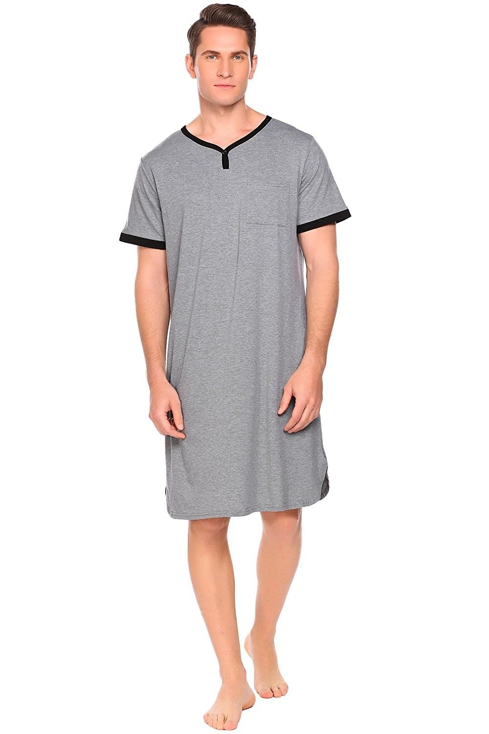 e3cf1441cb Men s Nightshirt Cotton Nightwear Comfy Big Tall Short Sleeve Henley Sleep  Shirt - A-grey - CP1809NLG9U