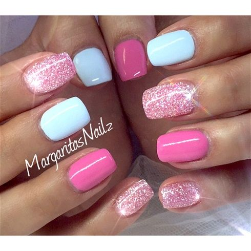 Baby Blue & Pink Diamond by MargaritasNailz from Nail Art Gallery - Baby Blue & Pink Diamond By MargaritasNailz Beauty Pinterest