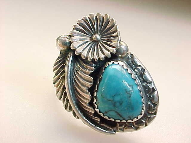 TURQUOISE Vintage RING in Flower and Leaf STERLING Setting - HUGE - Size 8  $95.00 via quadrina, Bonanza