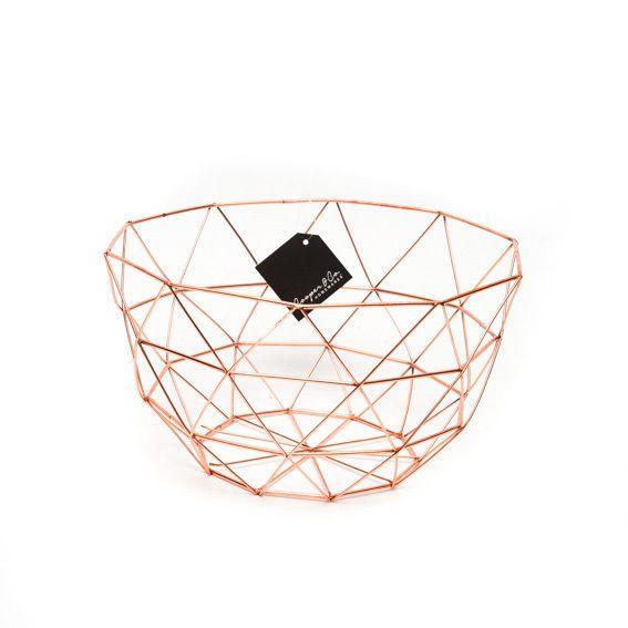 Metal round fruit basket copper rose gold homewares kitken - Corbeille de fruits maison du monde ...