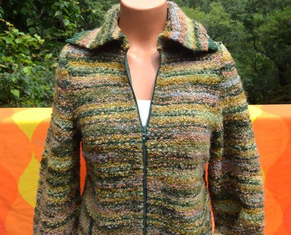 vintage 60s sweater CARDIGAN zip knit ski jacket bonda wool canada Medium green