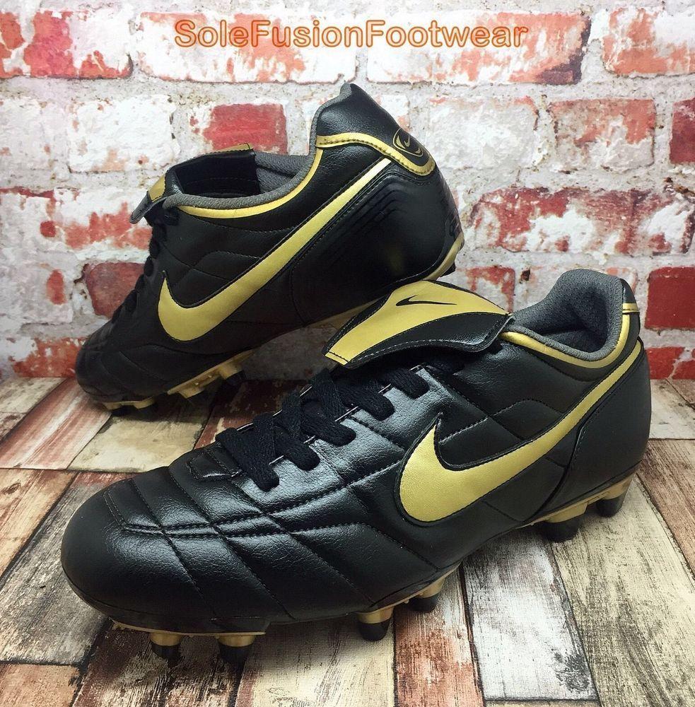 Nike Mens TIEMPO Natural Football Boots Black/Gold sz 9.5 FG Soccer US 10.5  44.5