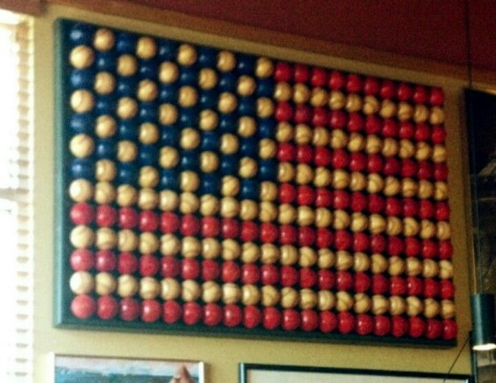 American flag made out of baseballs.  I definitely love this.