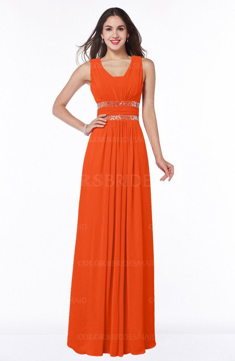 Tangerine Glamorous A Line Zip Up Chiffon Sash Plus Size Bridesmaid Dresses