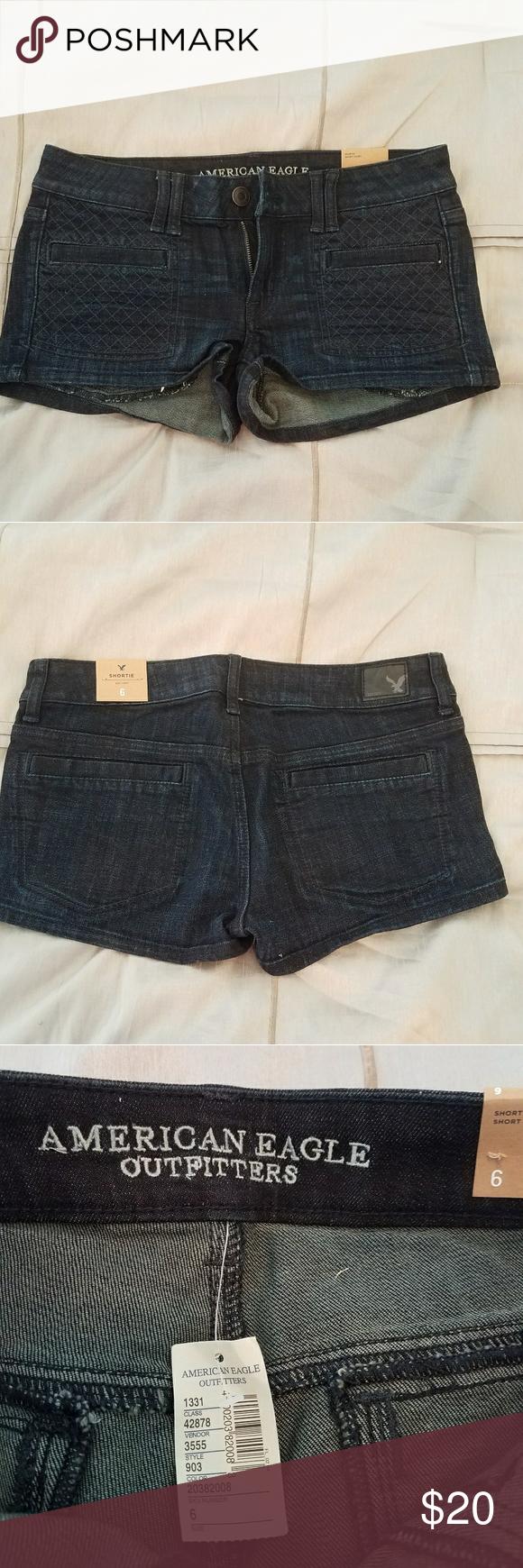 American eagle brand new denim shorts nwt crossstitching