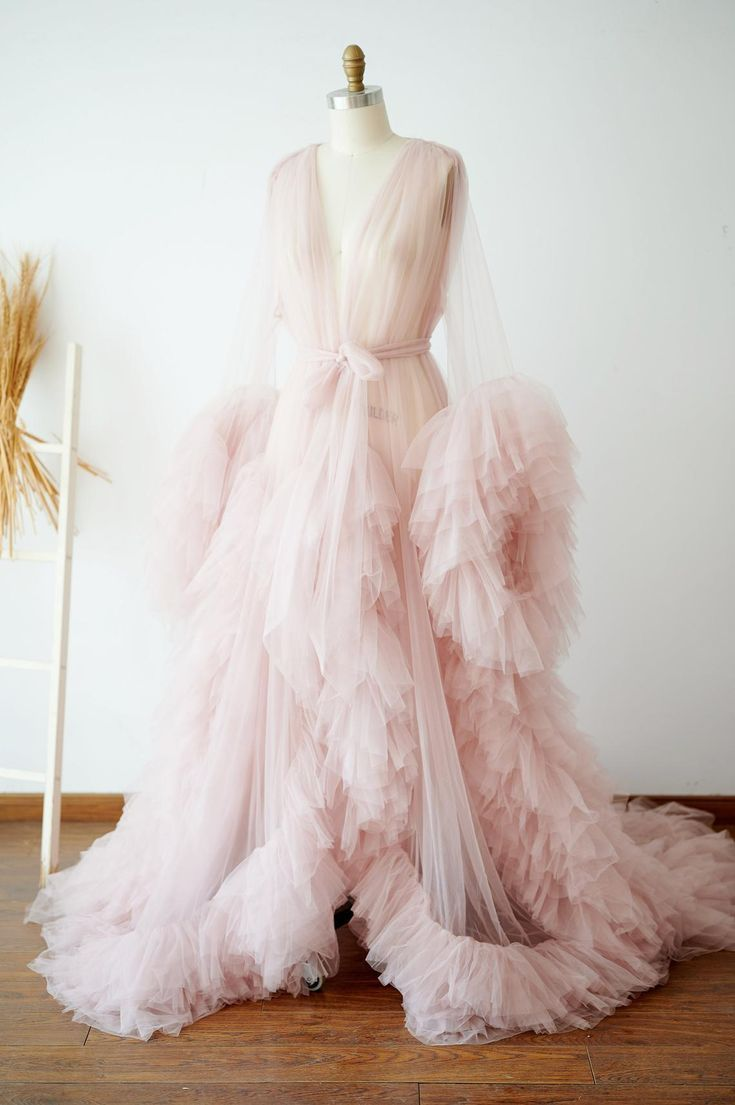 Long Ruffled Tulle Robe for Wedding and Maternity