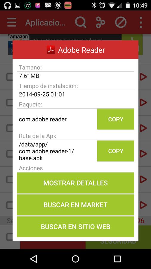 Busca determinado archivo apk tanto en la web como el market