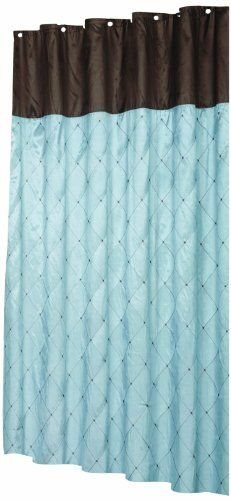 Carnation Home Fashions Diamond Patterned Embroidered Shower Curtain 70Inch By 72Inch Blue And Brown