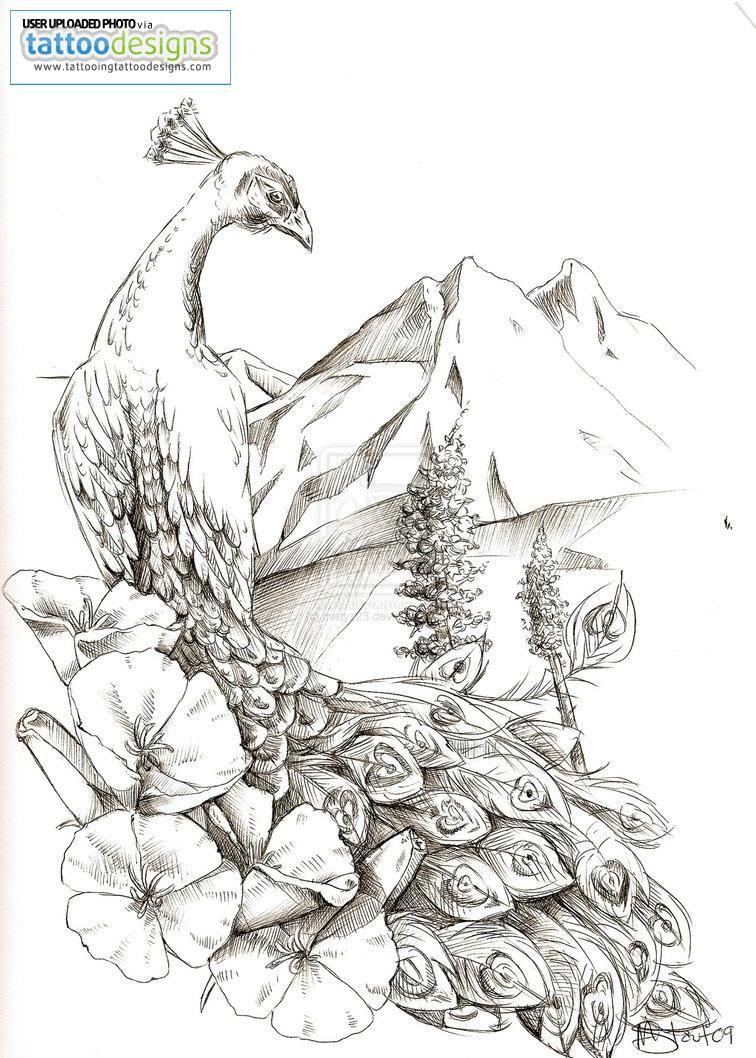 Peacock flower tattoo designs - Higher Resolution Peacock Tattoo Design By Mistyz