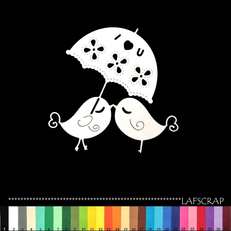 1 découpe scrapbooking scrap oiseau parapluie coeur amour découpe papier embellissement die cut création