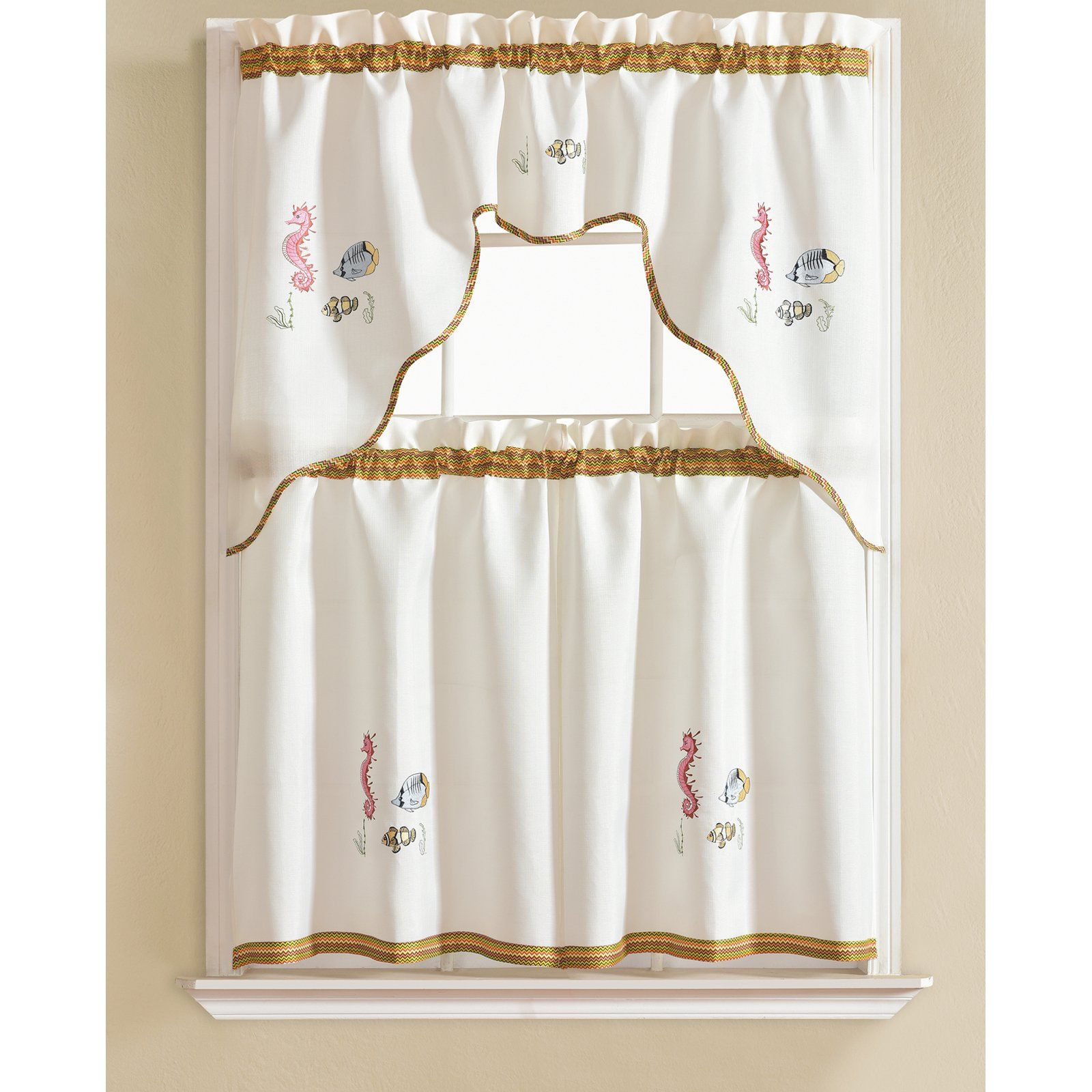 Rt Designers Collection Grand Seahorse Embroidered Kitchen Curtain Tier And Valance Set In 2021 Curtains Curtain Decor Kitchen Curtain Sets
