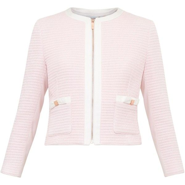 Ted Baker Eniela Bow Detail Cropped Jacket (£209) ❤ liked on Polyvore  featuring