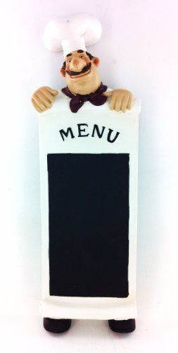 """Fat Chef Wall Art Menu Chalk Board Kitchen Decoration by King. $25.00. All You Need is 3 Nails to Hang (not included). Unique Fat Chef Wall Art Menu Chalk Board. All Measure 15"""" Tall x 5"""" Wide. Great Kitchen Decoration. Made of Resin. Gorgeous Fat Chef Menu Wall Art"""