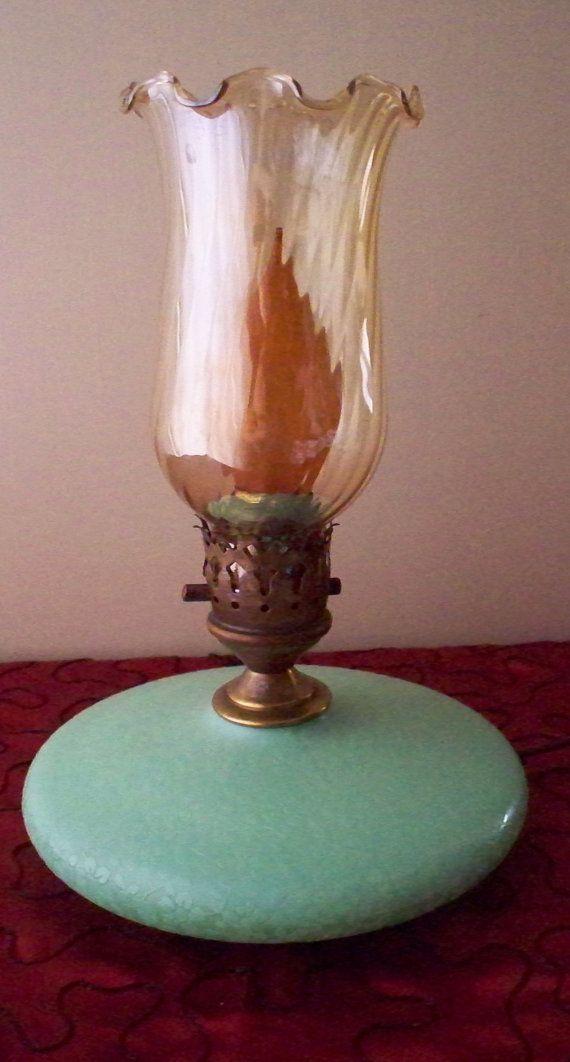 Fenton Jadeite Green Pancake Lamp Electric By