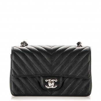 796d12f90283 CHANEL Caviar Chevron Quilted Mini Rectangular Flap Black | Chanel ...