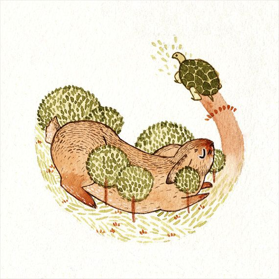 Aesop's Fables 'The Hare and the Tortoise' Watercolour Gouache Painting Illustration Giclee Art Print