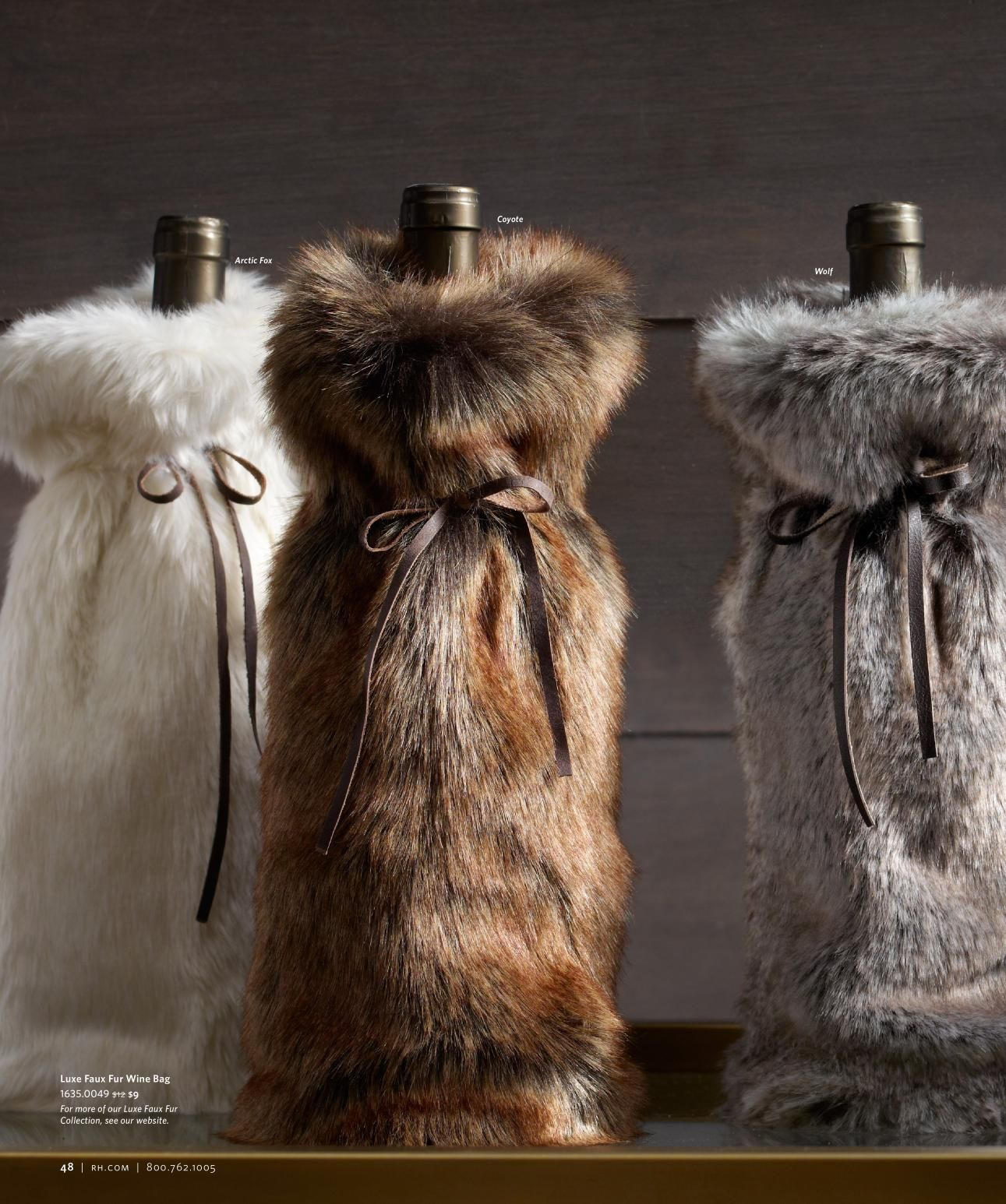 13f76e20ea7a Faux Fur Wine Bottle Christmas Packaging