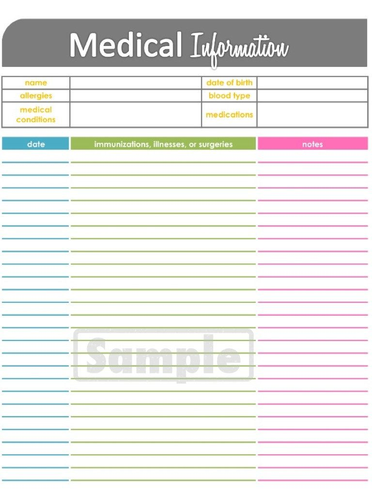 medical information tracker health and medical printable instant