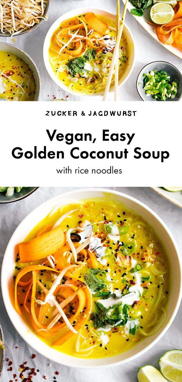 Golden Coconut Soup With Rice Noodles