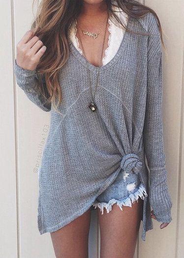 225d1cd8af9 grey shirt + white lace bralette.  summer  outfits   short ...