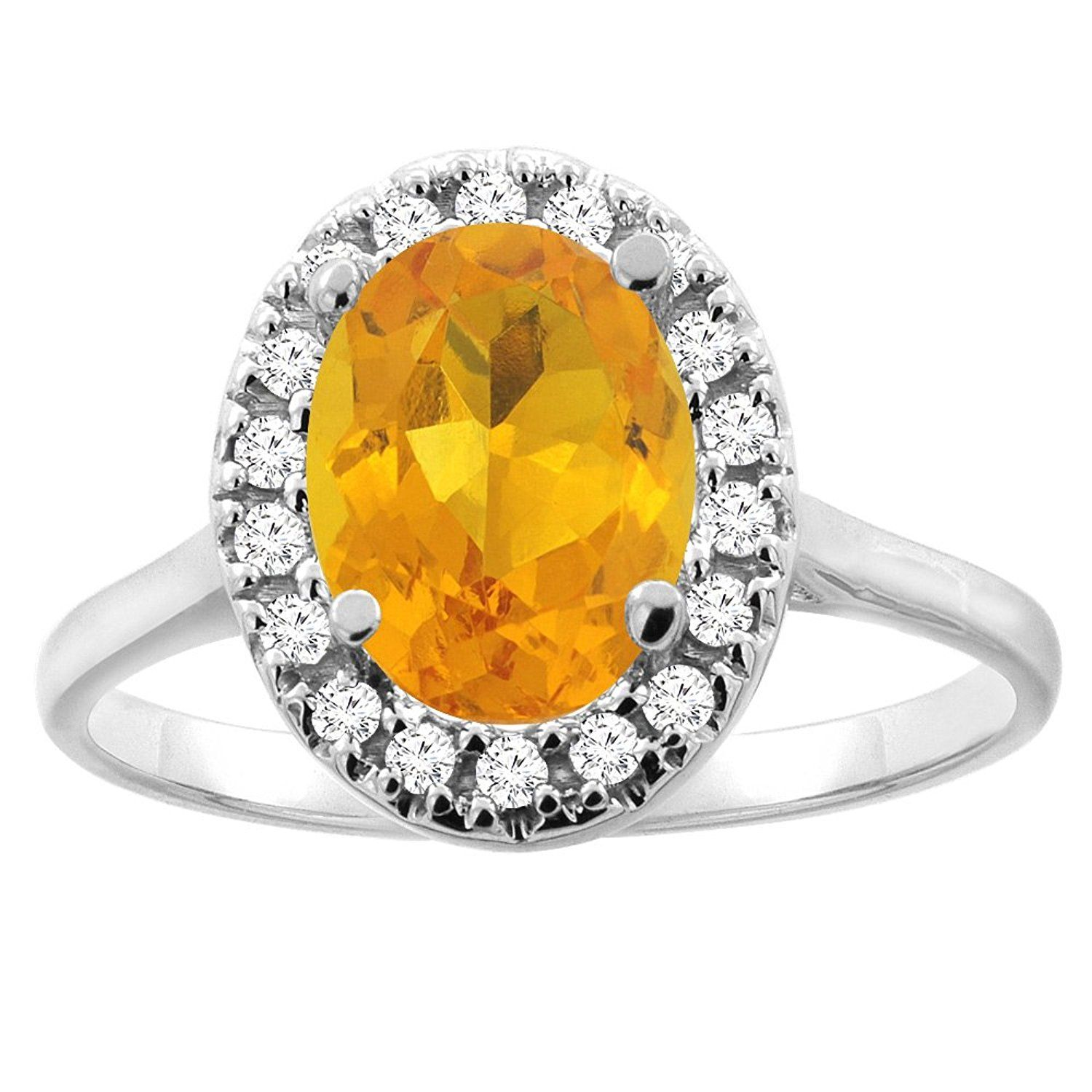 10K Gold Natural Citrine Halo Ring Oval 9x7mm Diamond Accent, sizes 5 - 10 >>> For more information, visit now : Engagement Rings