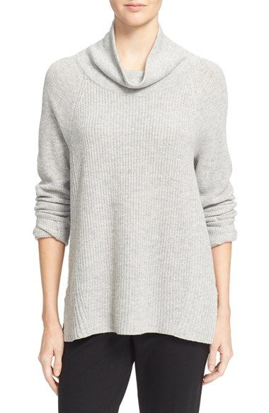 Vince Side Zip Rib Knit Wool & Cashmere Turtleneck | Cashmere ...