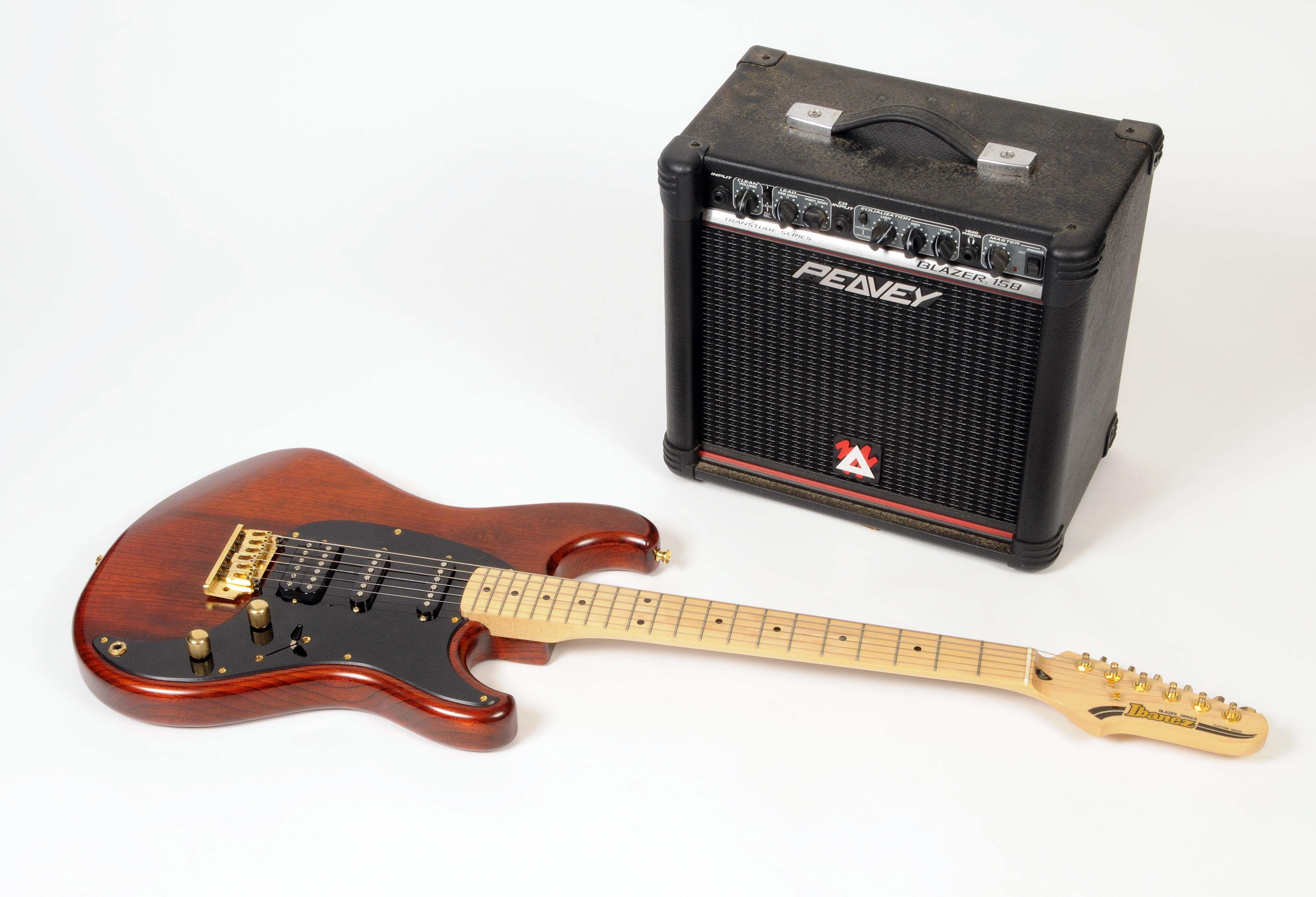 An Ibanez Blazer series custom made electric guitar with wood grain design body bears serial