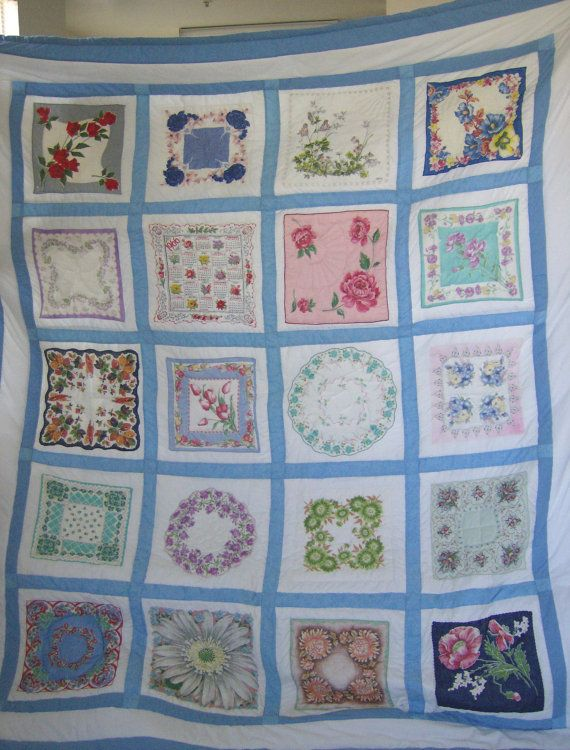 Hanky Quilt Made From Vintage Hankies Queen By Darlenesblankets