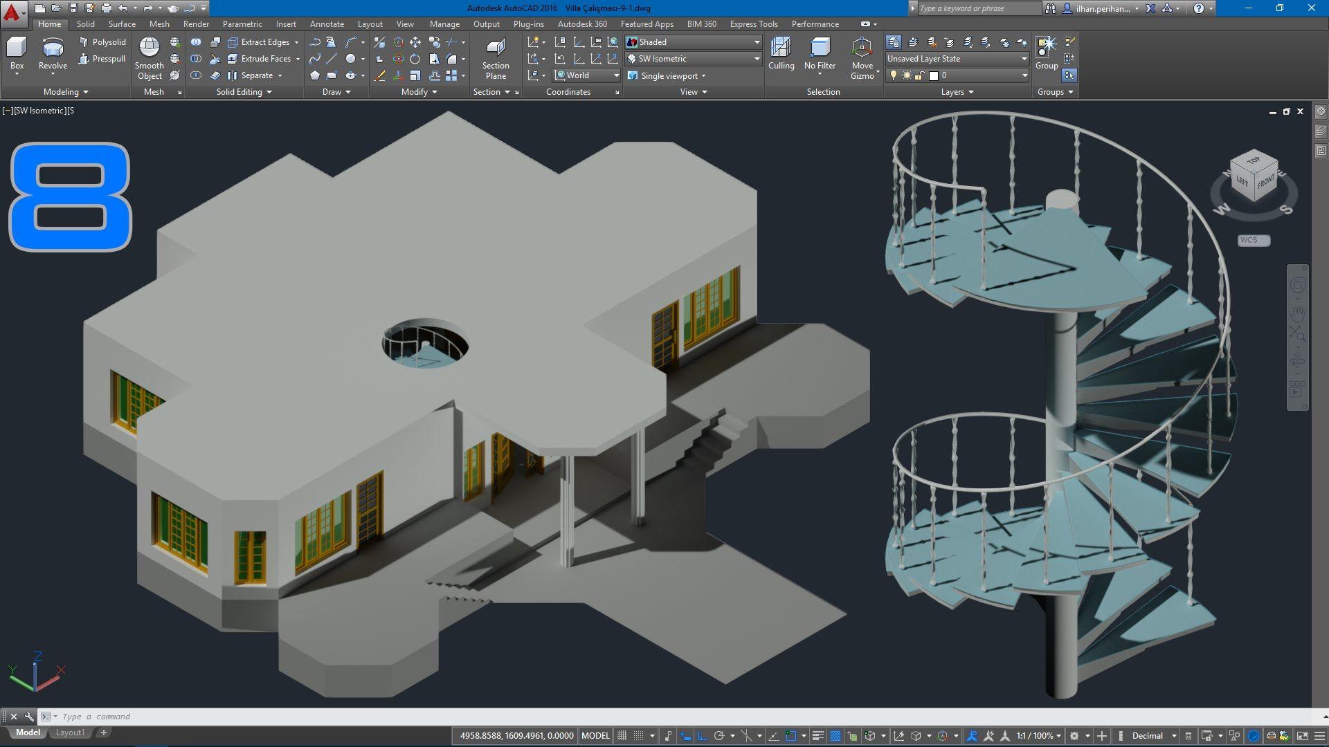 Autocad 3d Villa Modelleme Ders 83d Döner Merdiven çizimi