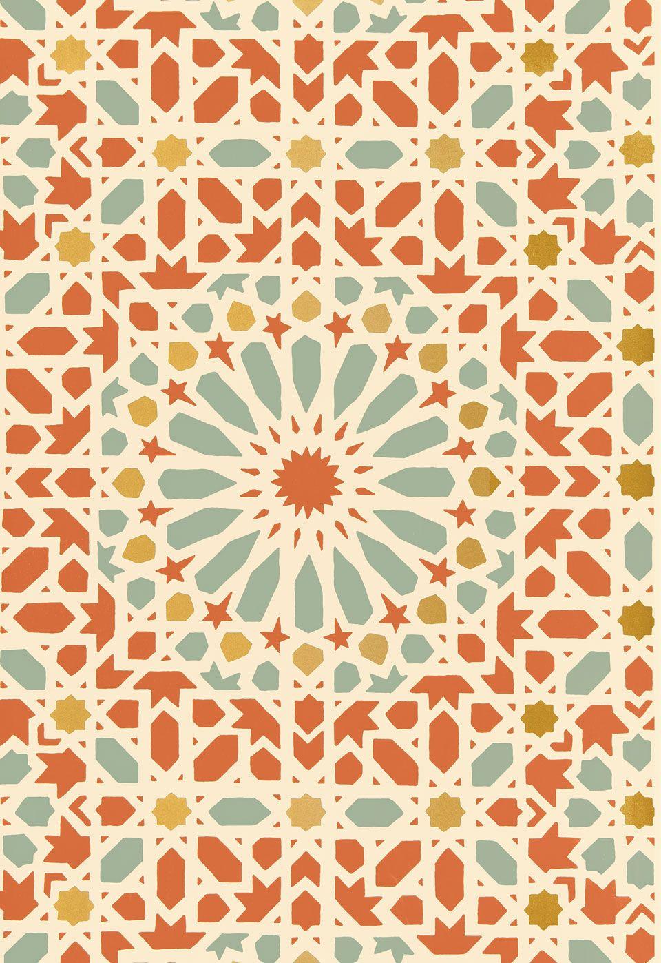 Orange-Teal, Geometric, Mosaic Wallcovering / Wallpaper | Nasrid ...