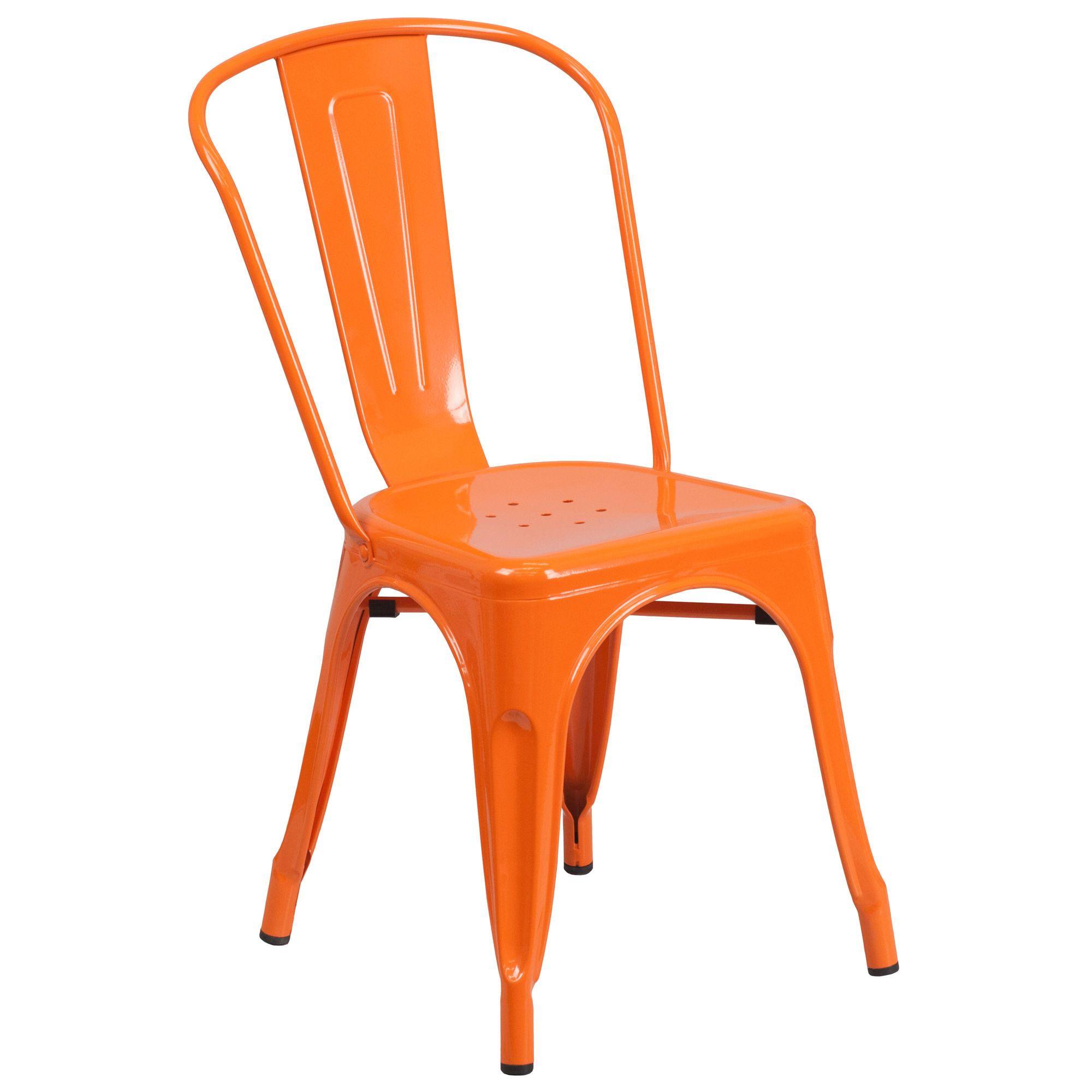 Commercial grade orange metal indooroutdoor stackable