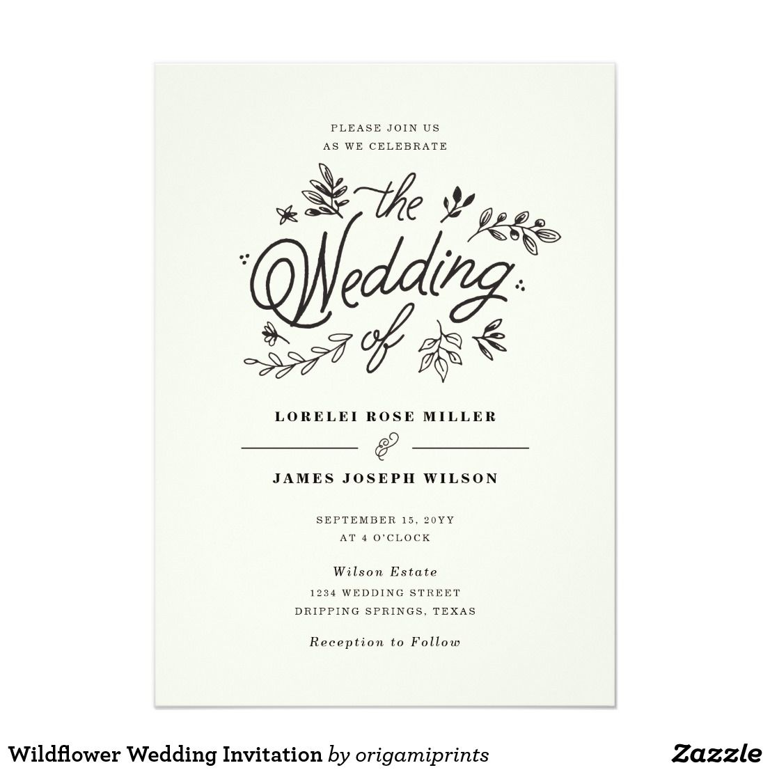 Wildflower Wedding Invitation | Wedding and Engagement Collection ...