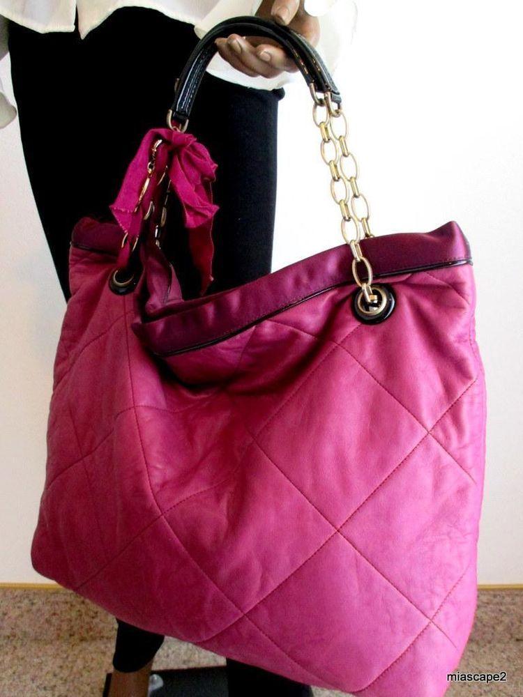 8f43c7318061 LANVIN Auth Amalia Quilted Cabas Tote Bag Purple Calfskin Satin Trim  1570  EUC  LanvinParis