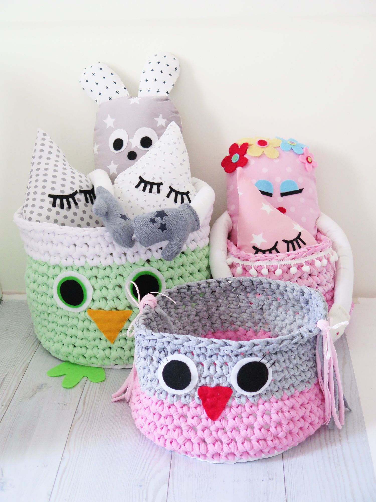 Crochet Owl Basket , Handmade Crocheted Bin Yarn ,Nursery Decor