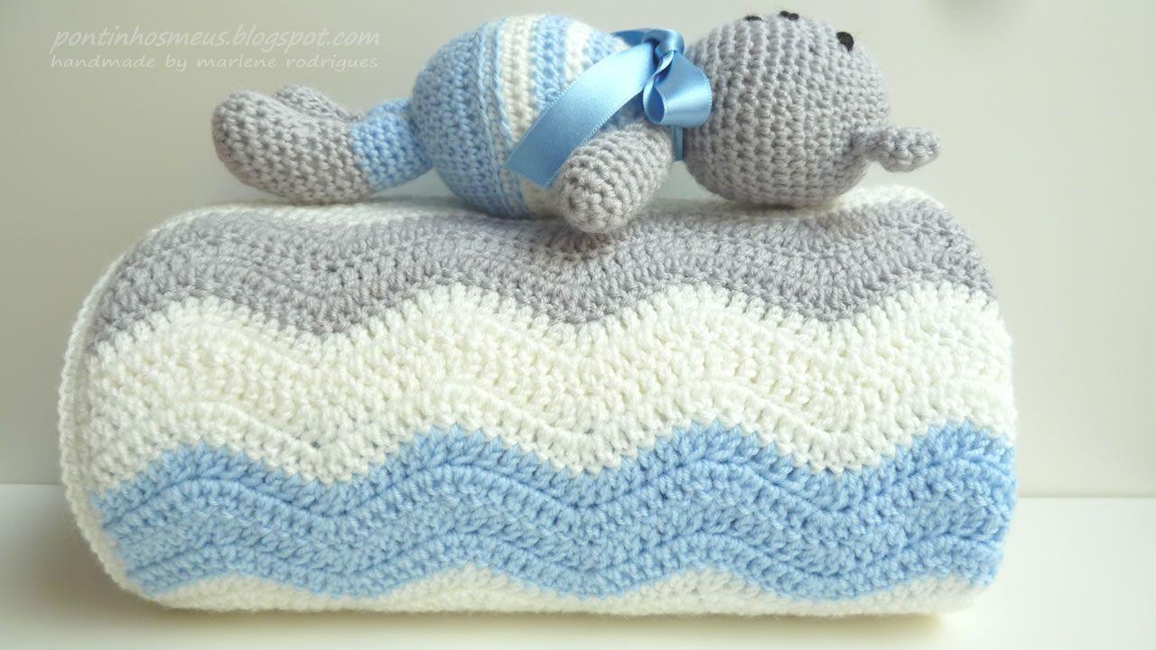 pontinhos meus: Manta bebe ondas azuis - Blue waves baby blanket